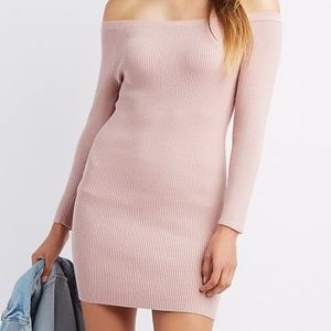 Off The Shoulder Ribbed Bodycon Sweater Dress